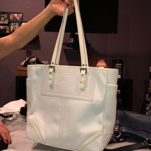 Coach All White Leather and Patent Tote NEW